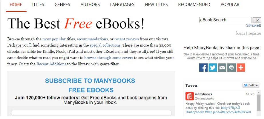 ManyBooks.Net - Top Resources To Download Free E-books