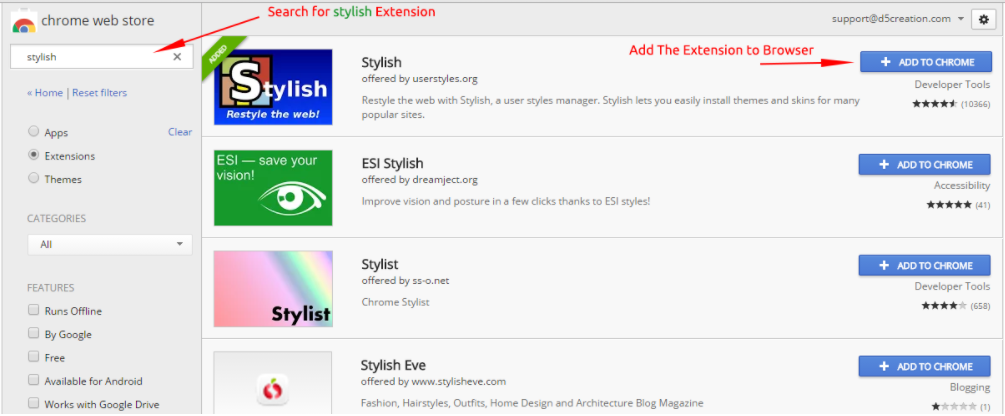 stylish extentions - How to change facebook theme